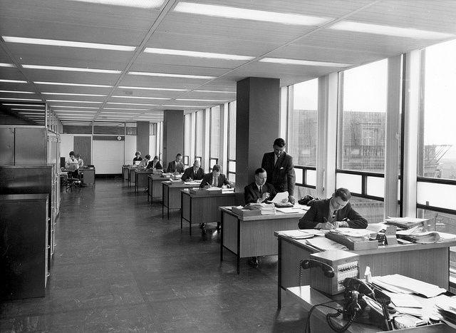 trabajadores, blanco y negro, oficina, co-working