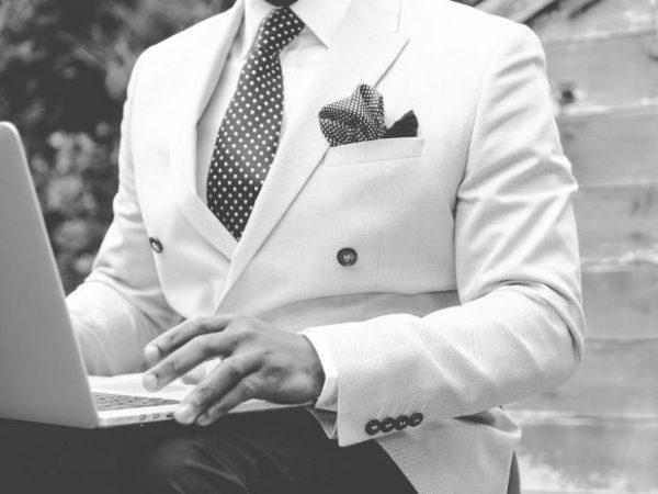 pincel, traje, hombre, corbata