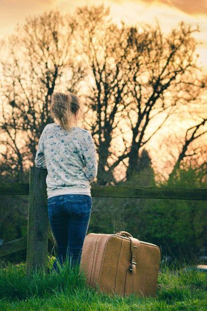 viaje, maleta, chica, transporte, plan